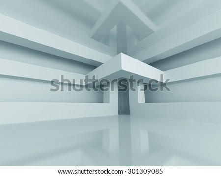 Abstract Modern Architecture Interior Background. 3d Render Illustration - stock photo