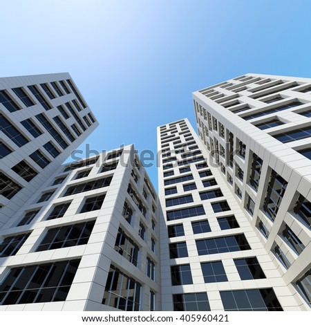 Abstract modern architecture. Perspective of tall city towers under blue sky. 3d render illustration - stock photo