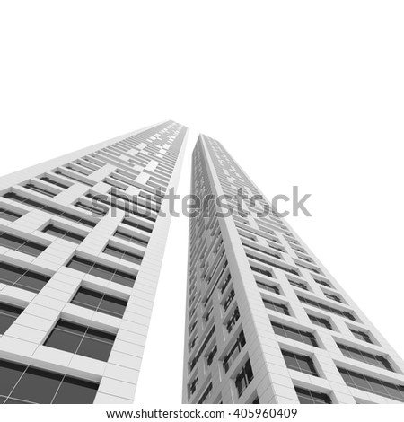 Modern Architecture Perspective 3d rendering modern multistorey residential building stock