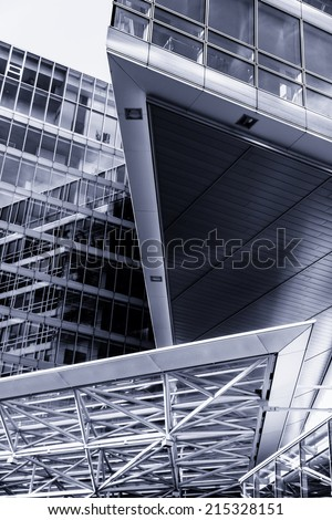 abstract Modern business architecture in motion blur