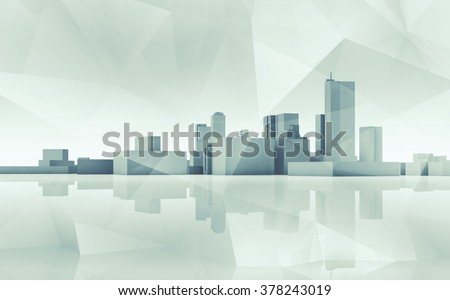 Abstract modern cityscape skyline. Blue toned 3d render with reflection on ground and polygonal structure layer