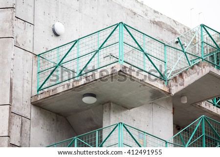 Abstract modern concrete stairs to building - stock photo