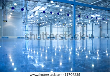 Abstract modern empty inderior. Blue tint. - stock photo