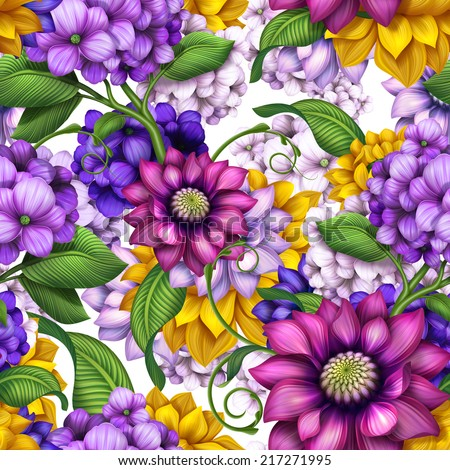 abstract modern floral seamless pattern, colorful background illustration - stock photo