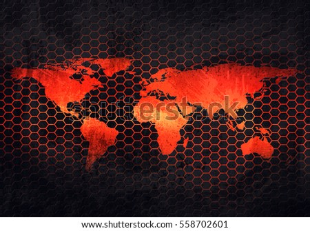 Abstract modern grey rusty metal plate stock illustration 558702601 abstract modern grey rusty metal plate with embossed world map material design in hexagonal perforated background gumiabroncs Gallery