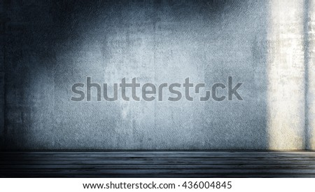 Abstract modern interior. All textures and maps my own photos. 3D rendering - stock photo