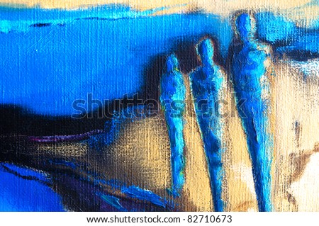 Abstract modern painting of three human figures standing in an abstract landscape - stock photo