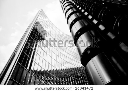Abstract Modern Skyscraper Building in Black and White - stock photo
