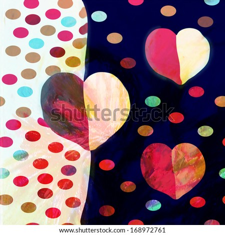 Abstract modern valentine day background with hearts whimsical design
