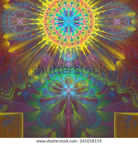 Abstract modern vivid shining spring fractal flower and star background flowers/stars on top and a larger flower on the bottom with decorative arches. In high resolution and in yellow,pink,green,teal - stock photo