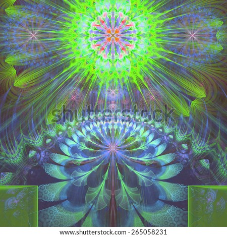 Abstract modern vivid shining spring fractal flower and star background flowers/stars on top and a larger flower on the bottom with decorative arches. In high resolution and in green,blue,pink,cyan - stock photo