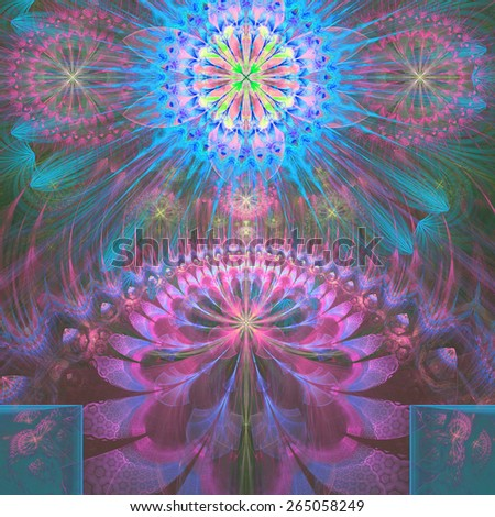 Abstract modern vivid shining spring fractal flower and star background flowers/stars on top and a larger flower on the bottom with decorative arches. In high resolution and in pink,blue,green,cyan - stock photo