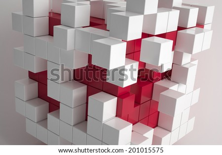 Abstract modern wallpaper of red and white cubes - stock photo