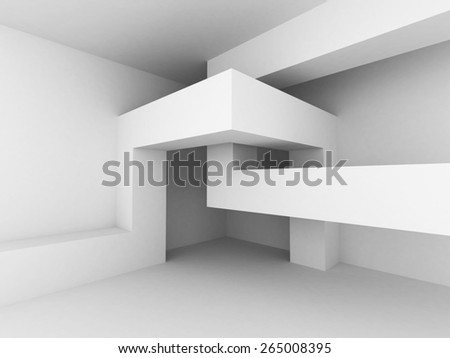 Abstract Modern White Architecture Background. 3d Render Illustration - stock photo