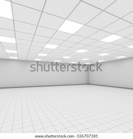 Abstract modern white office interior background. 3d illustration