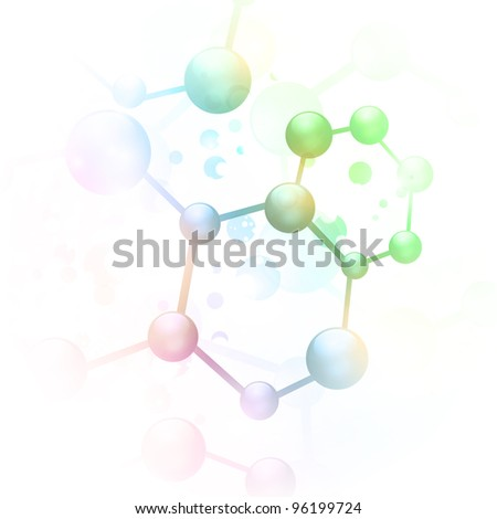 abstract molecule illustration over white background - stock photo