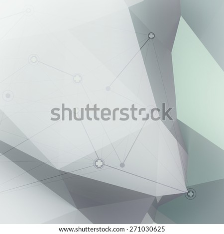Abstract molecules low poly medical network background - stock photo