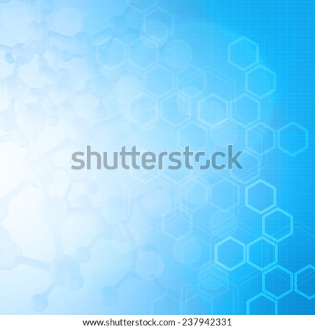 Abstract molecules medical blue background - stock photo