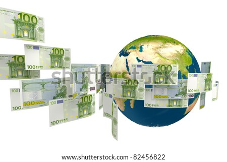 abstract money flying around the world - stock photo