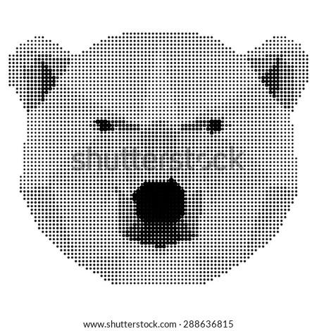 abstract monochrome polar bear isolated on white background. Raster copy - stock photo