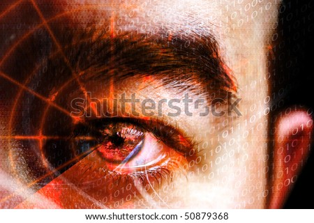 Abstract montage of a mans eye with a radar grid overlaying the pupil.  Shallow depth of field. Great concept relating to cyber crime, hackers, computer hacking, identity theft or laser eye surgery.