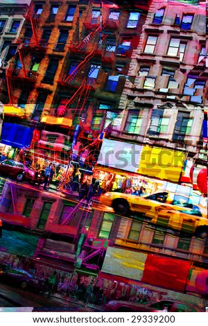 Abstract montage of city life with vivid colors.  This image tiles seamlessly as a pattern in any direction.  It works great as a website background texture. - stock photo