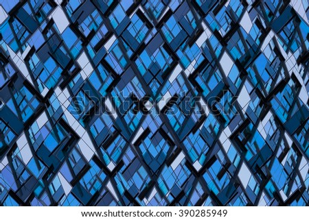 Abstract mosaic-like background composition of various polygonal elements. Hi-tech puzzle of a new type. Diverse shapes which perfectly fit into the whole. Metaphor of systemic thinking.