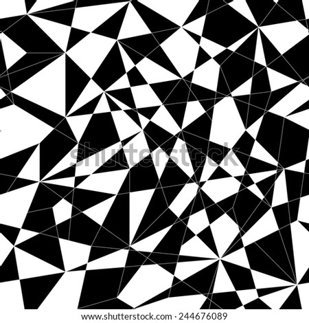 Abstract mosaic pattern with triangles. Seamless illustration. Stylized texture with black and white lines and triangles. Monochrome puzzle background for decoration or backdrop. Unstable composition. - stock photo