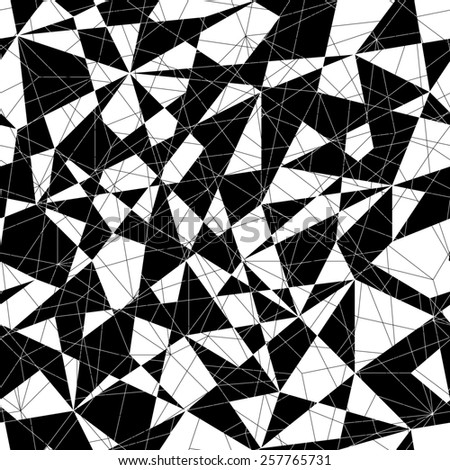 Abstract mosaic pattern with triangles. Seamless. Stylized texture with black and white lines and triangles. Monochrome puzzle background for decoration or backdrop. Unstable composition.