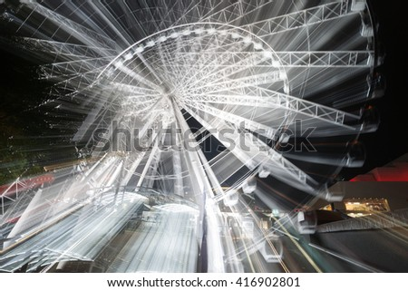 Abstract motion and zoom blur effects  of rotating ferris wheel at night on Brisbane South Bank Australia