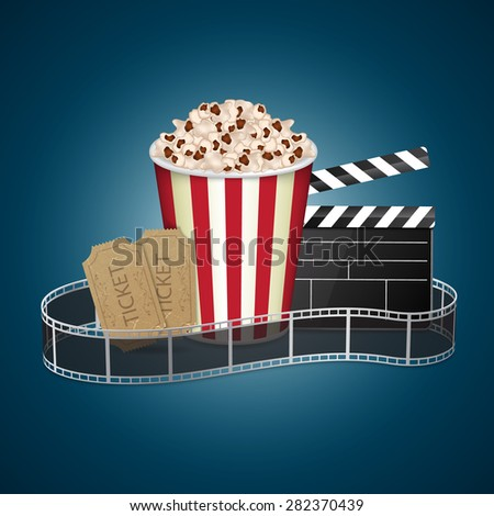 Abstract movie template. Cinema concept with popcorn, reel and film clapper