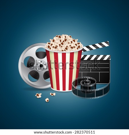 Abstract movie template. Cinema concept with popcorn, reel, filmstrip and film clapper