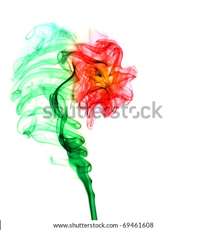 Abstract multi colored smoke puff  in form of flower isolated on white - stock photo