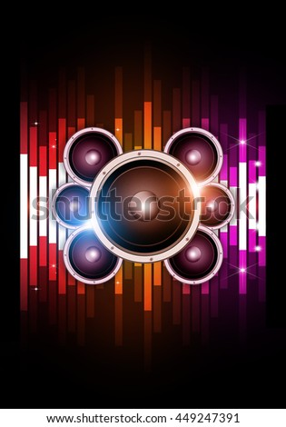 abstract multicolor music equalizer and sound speaker background for party events - stock photo