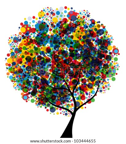 abstract multicolor tree, symbol of nature