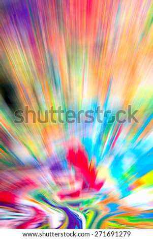 Abstract multicolored background. Colorful radial blur, streaks of light, sunburst or starburst. Rays of versicolor light. Digitally generated image. Acrylic painting with a zoom effect.