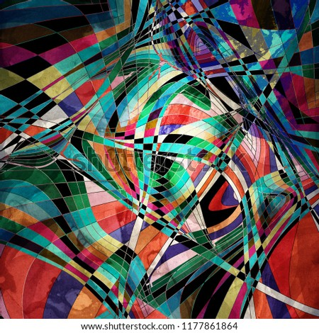 Abstract multicolored background with different stripes ornament