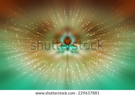 Abstract multicolored fractal composition. Magic explosion star with particles - stock photo