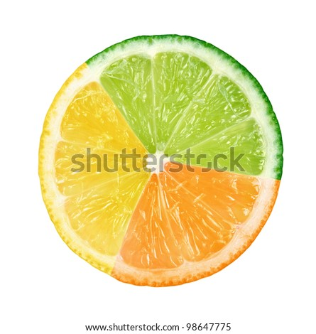 Abstract multicolored fruit isolated on white background - stock photo