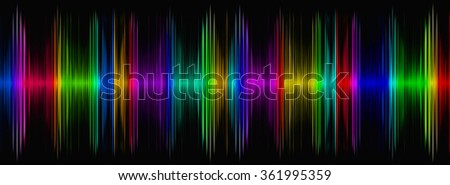 Abstract multicolored sound equalizer on black display.Digitally generated image. - stock photo