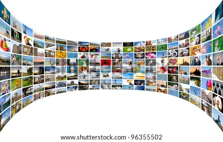 Abstract multimedia background made by different images bent. - stock photo