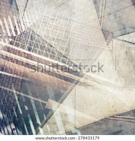 Abstract multiple exposure background. Architectural details. - stock photo