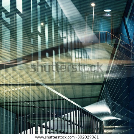 Abstract multiple exposure background. Architectural forms. - stock photo