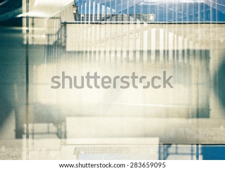 Abstract multiple exposure urban background. Architectural details. - stock photo