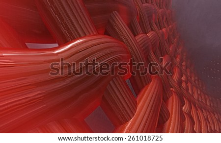 Abstract muscle fiber background and red blood cells. An illustration of pulsing blood veins and capillaries - stock photo