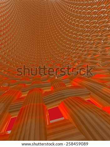 Abstract muscle fiber background and red blood cells flowing in artery human veins - stock photo