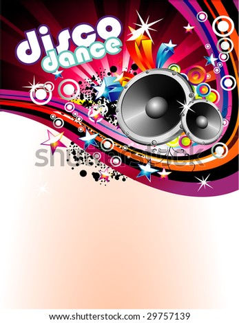 Abstract Music and Disco Colorful Flyer Background