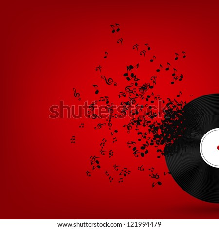 Abstract music background for your design. Raster version. - stock photo