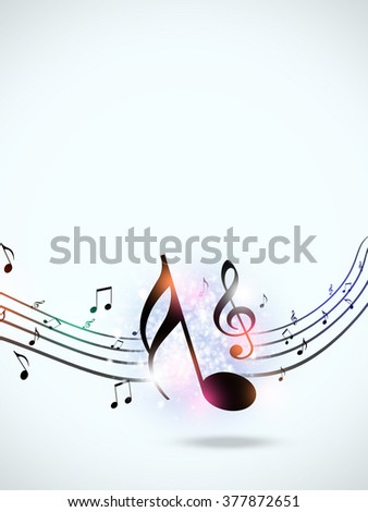 abstract music background with music notes and blurry lights
