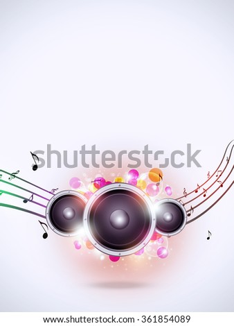 abstract music background with sound speaker and music notes